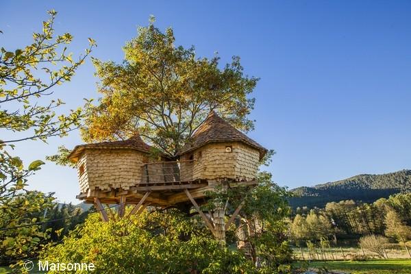 uniek overnachten boomhut Frankrijk Vogezen
